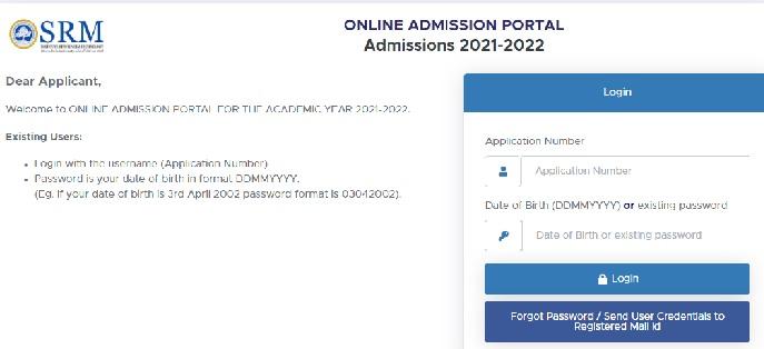 SRM Online Admission Portal - Login, Application Form, Slot Booking, Form at admissions.srmist.edu.in.