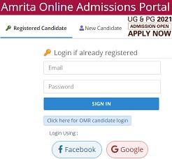 Amrita Online Admission Portal 2021 - Login, Application Form, Last Date, Test Booking